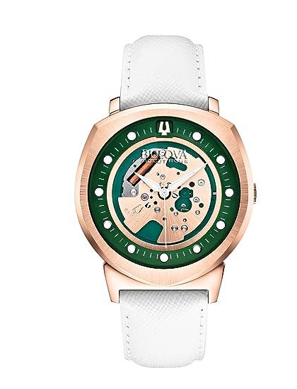 Bulova Watches 97A111 - Reloj analógico para Hombres, Correa de Cuero, Color Dorado y