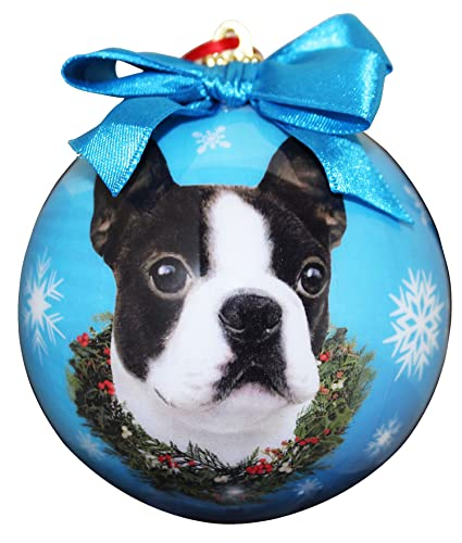 boston terrier christmas ornament shatter proof ball easy to personalize a perfect gift for boston terrier