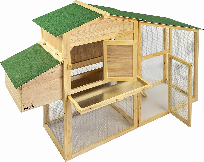 Kleintierhaus H/ühnerhaus H/ühnervoliere 172 x 64 x 110cm MaxxPet Menno H/ühnerstall mit Freilauf und erh/öhtem