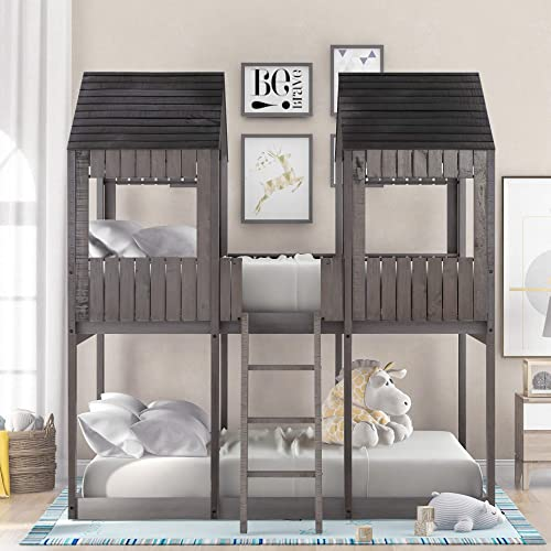 MERITLINE Low Bunk Beds Full Over Full Size