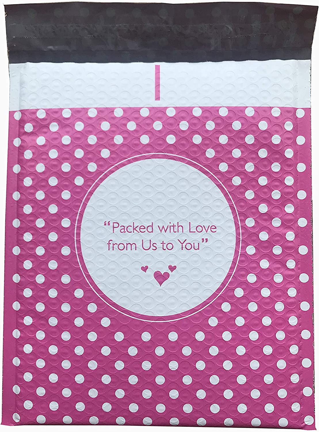 Pink Dot Poly Bubble Mailers 50 8.5x11 Packed with Love from Us to You