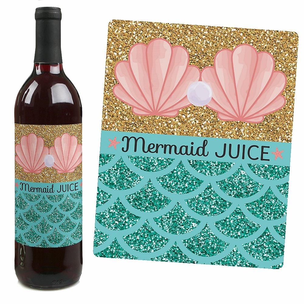Amazon.com: Let\'s Be Mermaids - Baby Shower or Birthday Party Wine ...