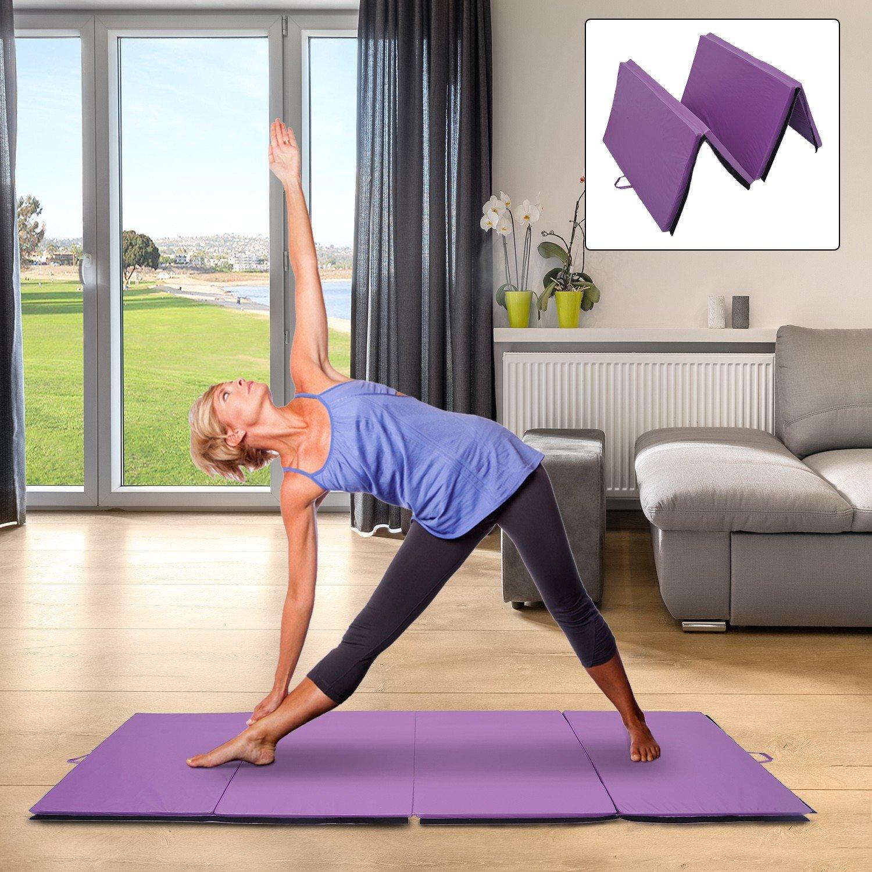 Foldable Gym Mat 4' x 10' x 2'' Gymnastics Aerobics Exercise Yoga Tumbling Mat With Ebook by MRT SUPPLY