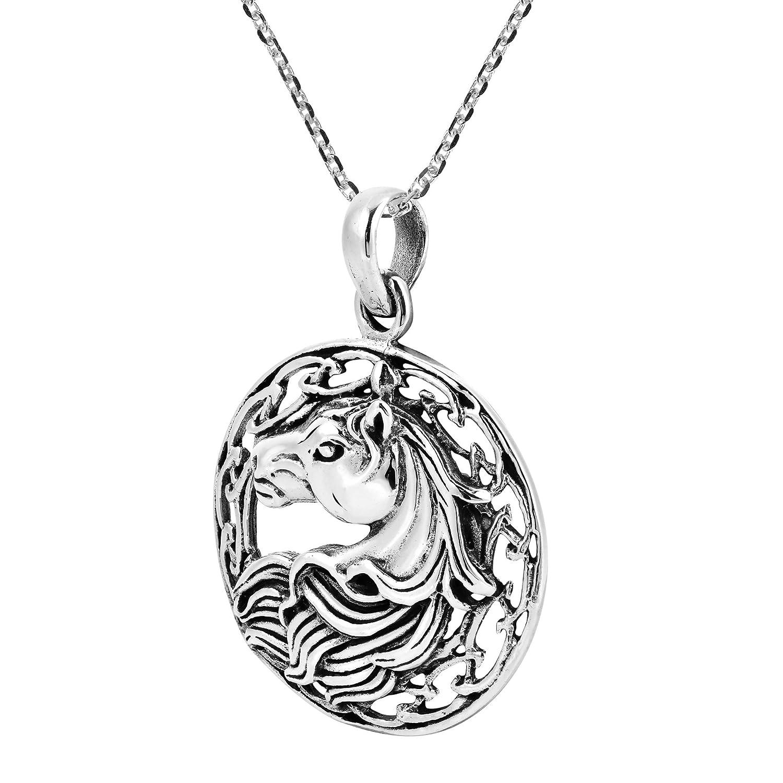 AeraVida Round Framed Winning Horse Portrait .925 Sterling Silver Pendant Necklace