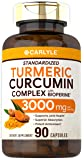Turmeric Curcumin with Bioperine | 3000 mg | 90 Powder Capsules | Joint Support Complex with Black Pepper | Non-GMO, Gluten Free Supplement | by Carlyle