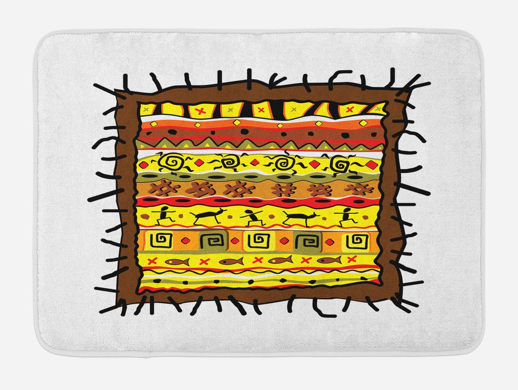 Lunarable Primitive Bath Mat, Aztec Motifs Colorful Latin America Folklore Elements Doodle Style Tribal Pattern, Plush Bathroom Decor Mat with Non Slip Backing, 29.5 W X 17.5 W Inches, Multicolor