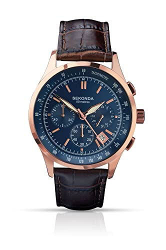 36a36f4948f Sekonda Men s Quartz Watch with Blue Dial Chronograph Display and Brown  Leather Strap 1157.27