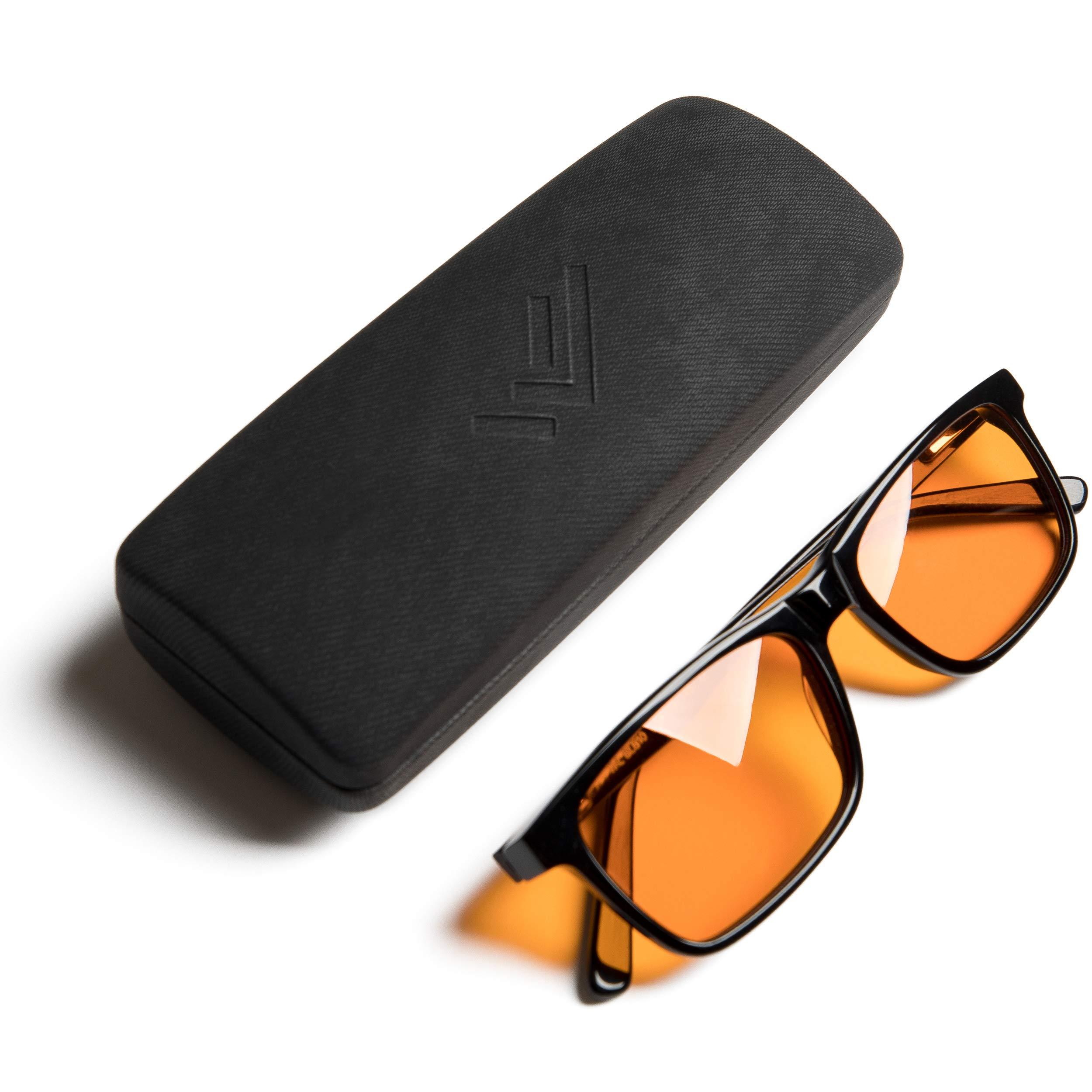 Blue Light Blocking Reading Glasses for Better Sleep - Computer Eyewear with Orange Amber Filter Lenses - Anti Eye Strain - by THL Sleep (Black) Regular