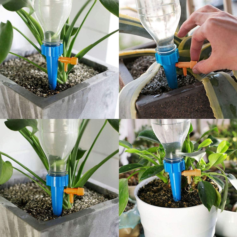 12 St/ücke Bew/ässerungssystem Automatisch Bew/ässerung Set f/ür Topfpflanzen Blumentopf Einstellbar Pflanze Wasserspender Kompatibel mit meisten Flaschen