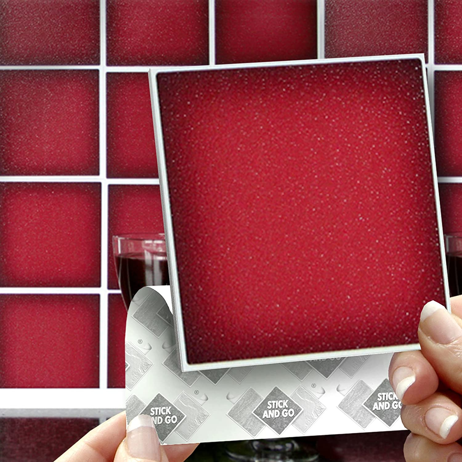 18 CARMINE RED EFFECT WALL TILES - 2mm Thick and solid Self ...