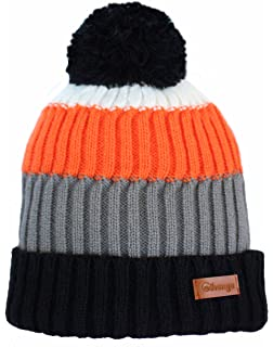 212c347b1 City Hunter Ck1050 Bold Stripe Pom Pom Knit Hat (Black) at Amazon ...