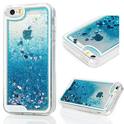 finest selection 08440 3d134 MOLLYCOOCLE iPhone SE Case, iPhone 5 5S Case, 3D Liquid Bling Sparkle  Glitter Clear TPU Shell Quicksand Cute Star Fashion Creative for Girls  Flowing ...
