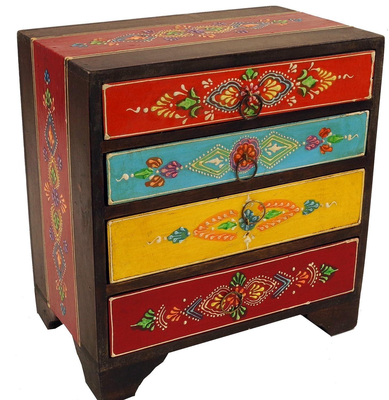 Modello 1 Portagioie Guru-Shop Armadio per Piccoli Farmacisti Deposito Cassettiera Dipinta a Mano Multicolore 26x27x7 cm