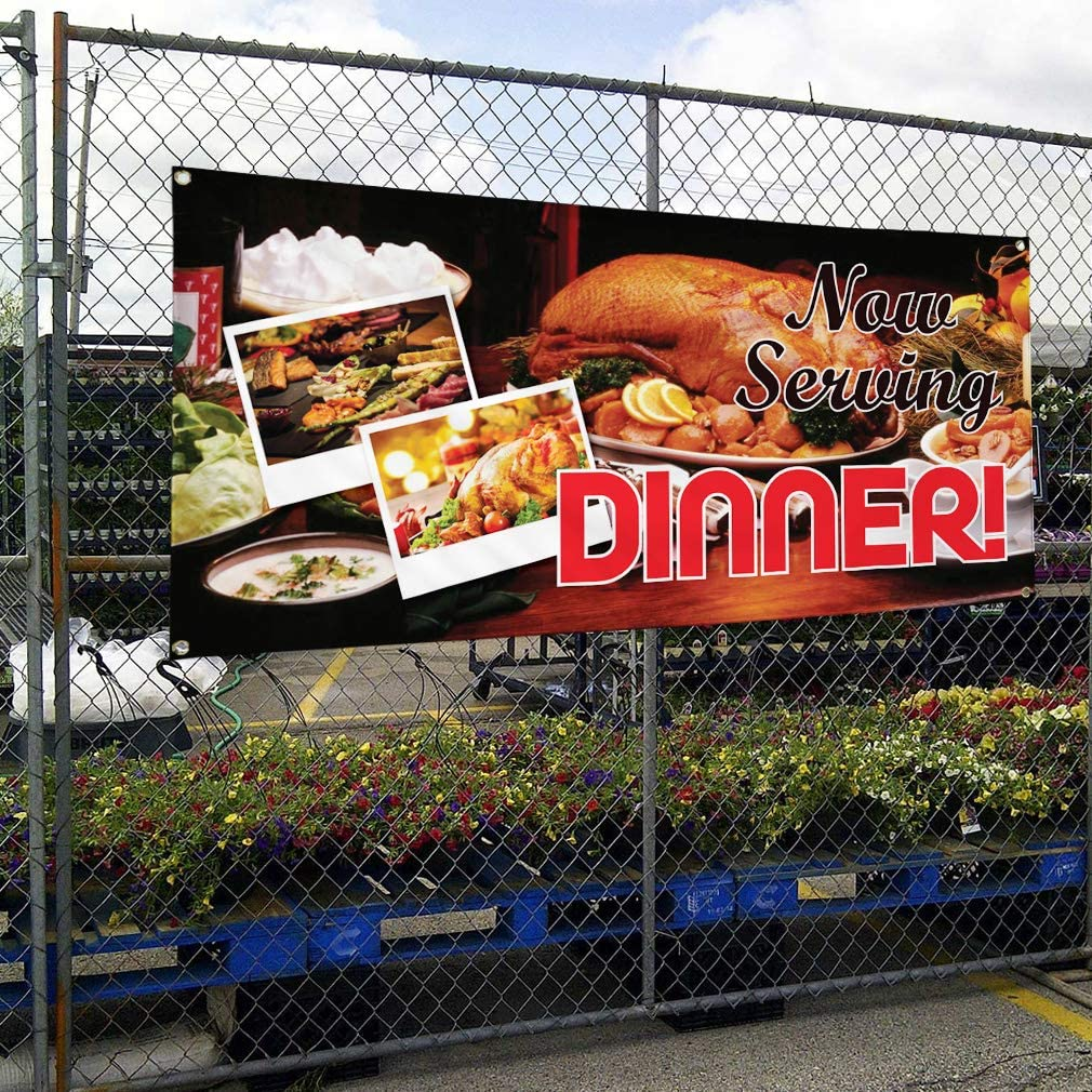 Vinyl Banner Multiple Sizes Now Serving Dinner Advertising Printing D Business Outdoor Weatherproof Industrial Yard Signs Black 4 Grommets 24x36Inches