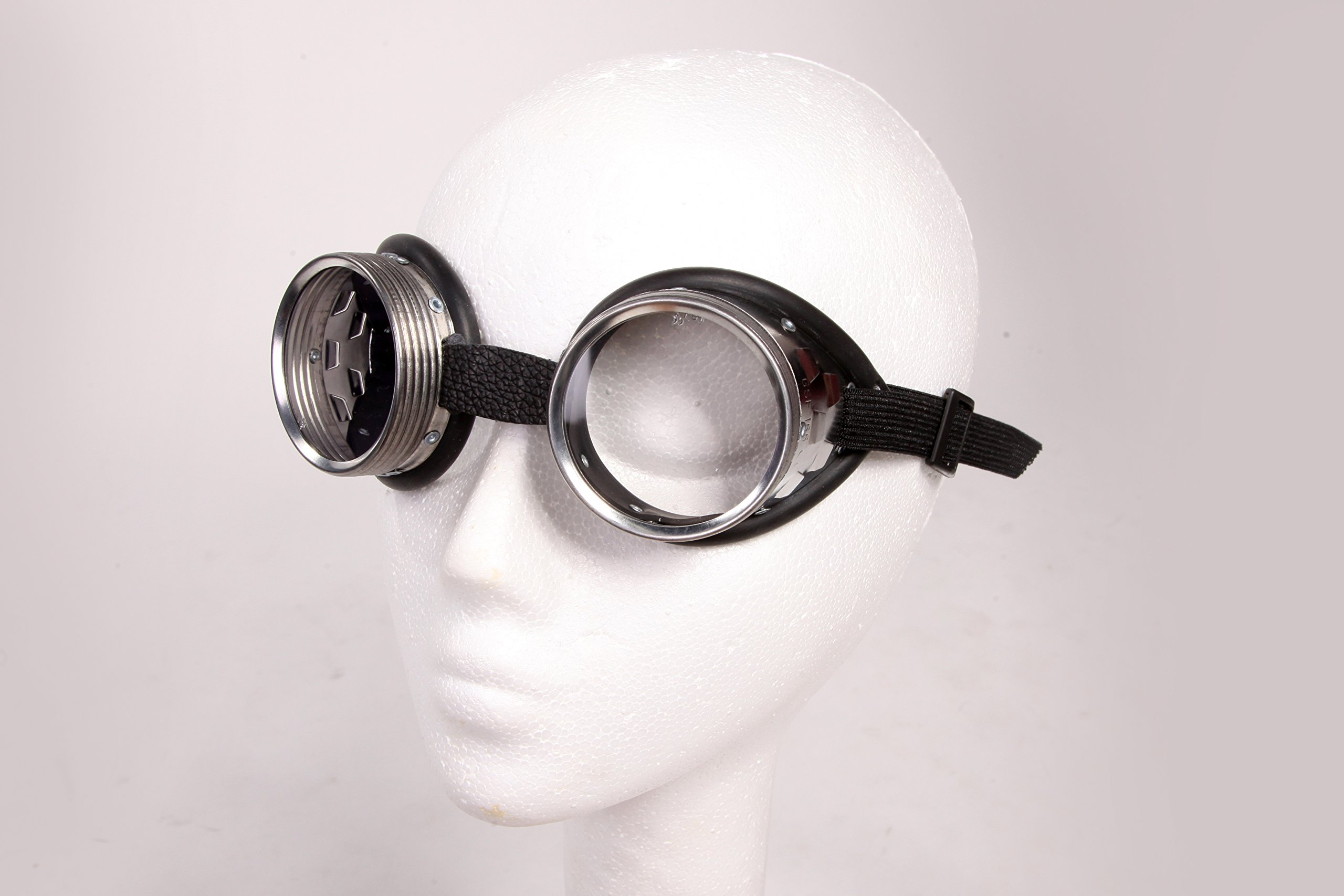 Steampunk Metal Goggles - Clear Glass Lens with Aluminum Metal and Rubber Lining