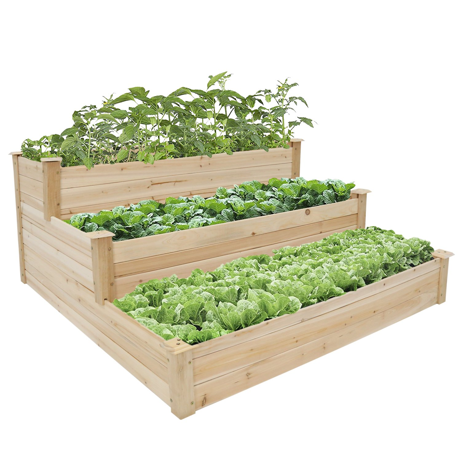 Peachtree Press Inc 3-Tier Wooden Raised Garden Bed Elevated Planter Kit Grow Flower Vegetables
