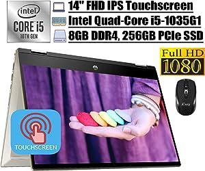 "Newest 2020 HP Pavilion X360 14 2 in 1 Laptop, 14""FHD IPS Touchscreen, Intel Quad-Core i5-1035G1 (Beats i7-8550U), 8GB DDR4 256GB PCIe SSD, AlexaBacklit FP USB-C Win 10 + iCarp Wireless Mouse"