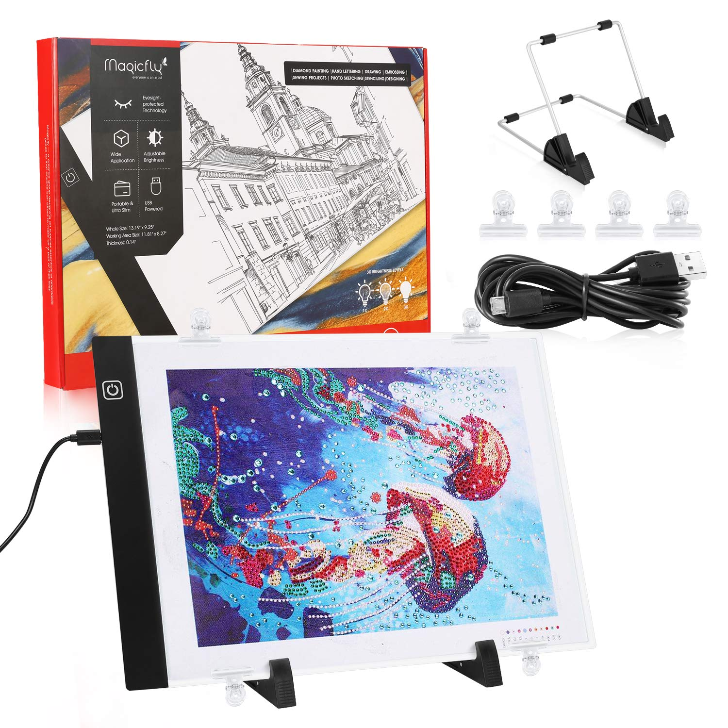Magicfly Diamond Painting A4 LED Light Pad, Tracing Light Box for Drawing, Dimmable Light Board Kit with USB Cable, for DIY 5D Diamond Painting, Drawing, Embossing, Stenciling, Designing by Magicfly