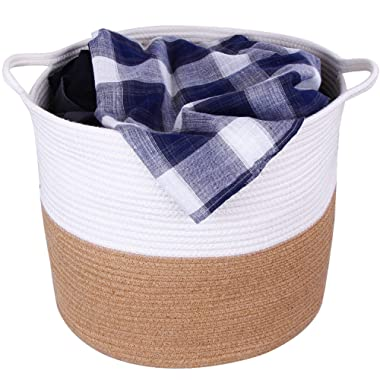 Storage Cotton Basket Extra Large 17 D x 14.5 H, Nursery Storage Baby Laundry Basket, Decorative Blanket Basket with Handles, Woven Laundry Hamper for Pillows, Towels, Toys