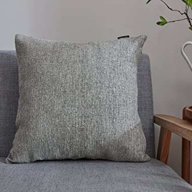 Hey Tang Chenile Velvet Soft Soild Decorative Square Throw Pillow Covers Set Cushion Case for Sofa Bedroom Car 24 x 24 Inch 60 x 60 Cm,Gray