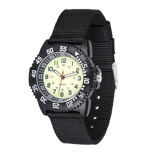 Gaigor Niños Relojes de Pulsera Deportivos para Infantiles Relojes de Cuarzo analógico Negro Fluorescente G018W005: Amazon.es: Relojes