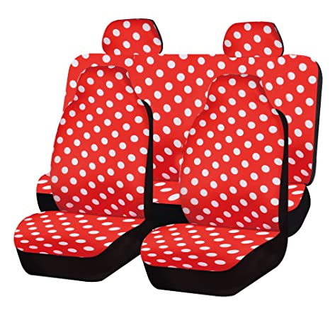 FH GROUP FB115114 Full Set Polka Dots Car Seat Covers For Van And