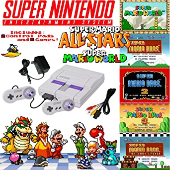 Amazon Com Super Nes Mario Set With 5 Game Cartridge Video Games