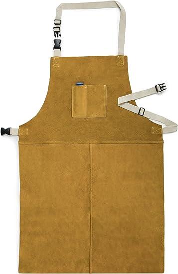 Welding Apron Safety Aprons Flame Retardant Cotton Black Adjustable Waist Strap