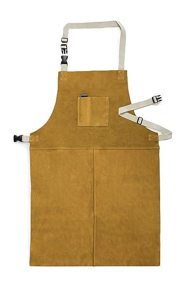 Fookay - Delantal de soldadura de cuero, resistente al calor, 60 cm por 90 cm, con correas ...