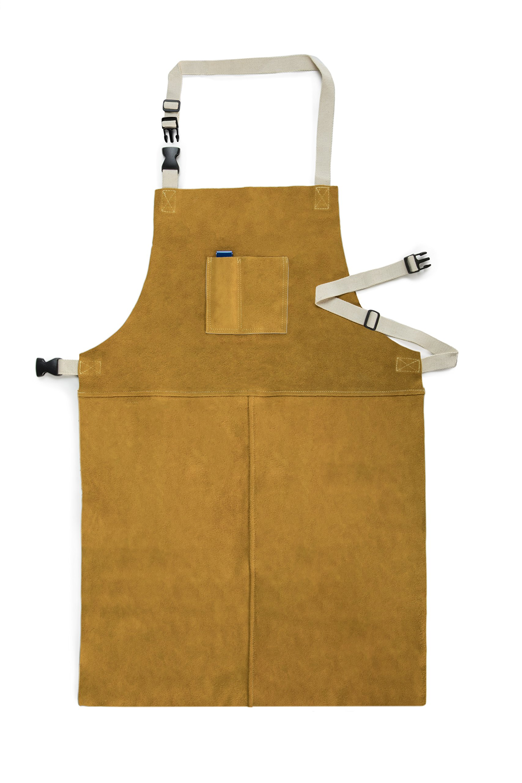 Fookay Leather Welding Apron heat resistant 24 inch by 36 inch with Adjustable Neck and Waist Straps Tan One Size Includes Welding Tip Cleaner