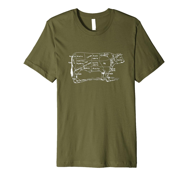 Cow Cuts of Beef Vintage Retro Design Shirt-TD
