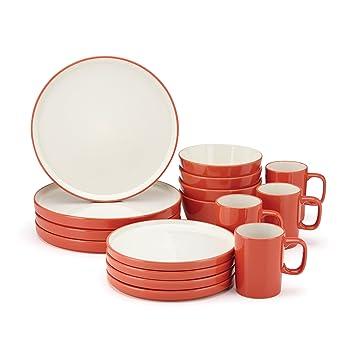 Amazon.com: Food U0026 Wine For Gorham Modern Farmhouse 16 Piece Dinnerware  Set, Flame: Kitchen U0026 Dining