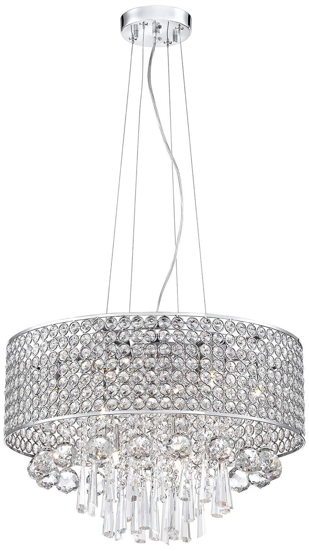 Elva Chrome 19 Wide Beaded Crystal Pendant Light Vienna Full Spectrum