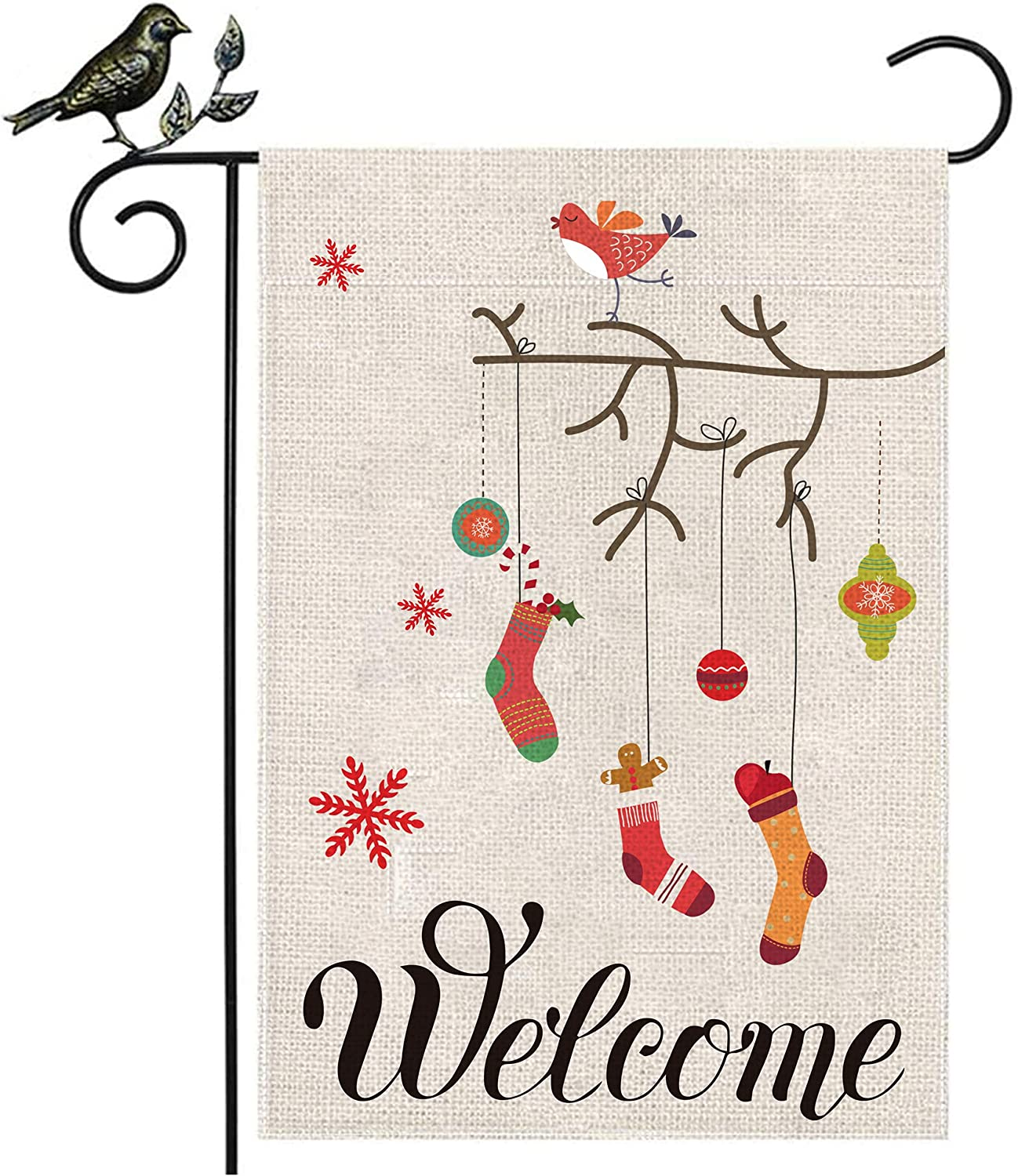 Ditmeer Christmas Socks Garden Flag 12.5X18 Inch Garden Decoration Holiday Flag Winter Party House Decoration Flag Double Sized