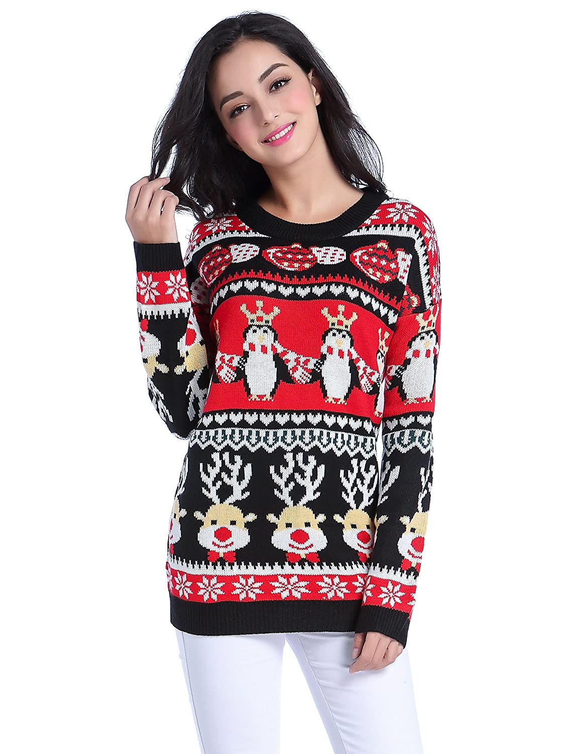 v28 Ugly Christmas Sweater, Women Girl Long Vintage Knit Xmas Warm ...