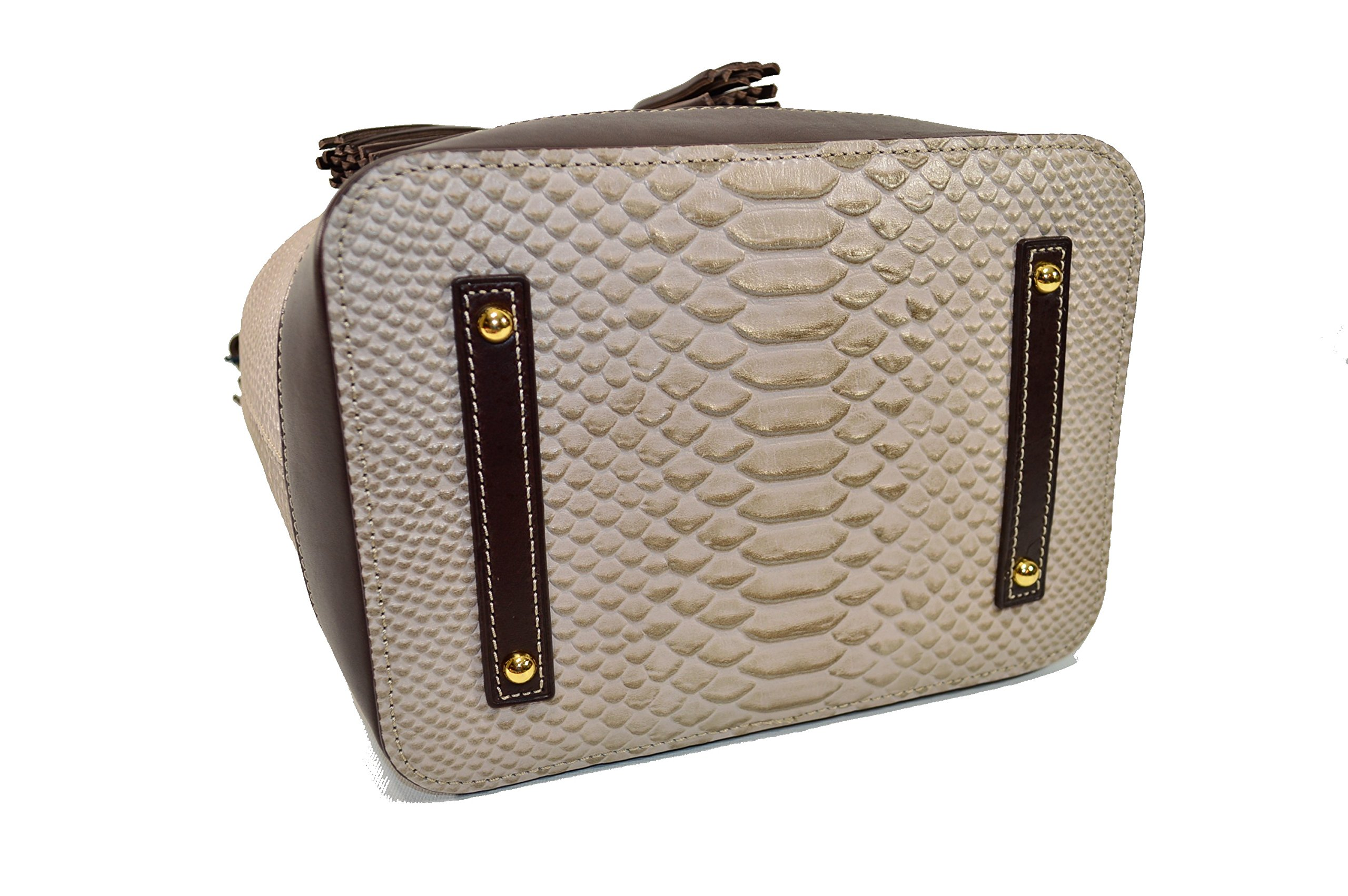 Dooney & Bourke Cordova Leather Drawstring Bag BCALD9038 Taupe by Dooney & Bourke (Image #4)