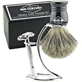 Safety Razor Shaving Kit: Double Edge Razor, Pure Badger Brush, Heavy Chrome Stand with Travel Case; Complete Wet Shave Gift Set