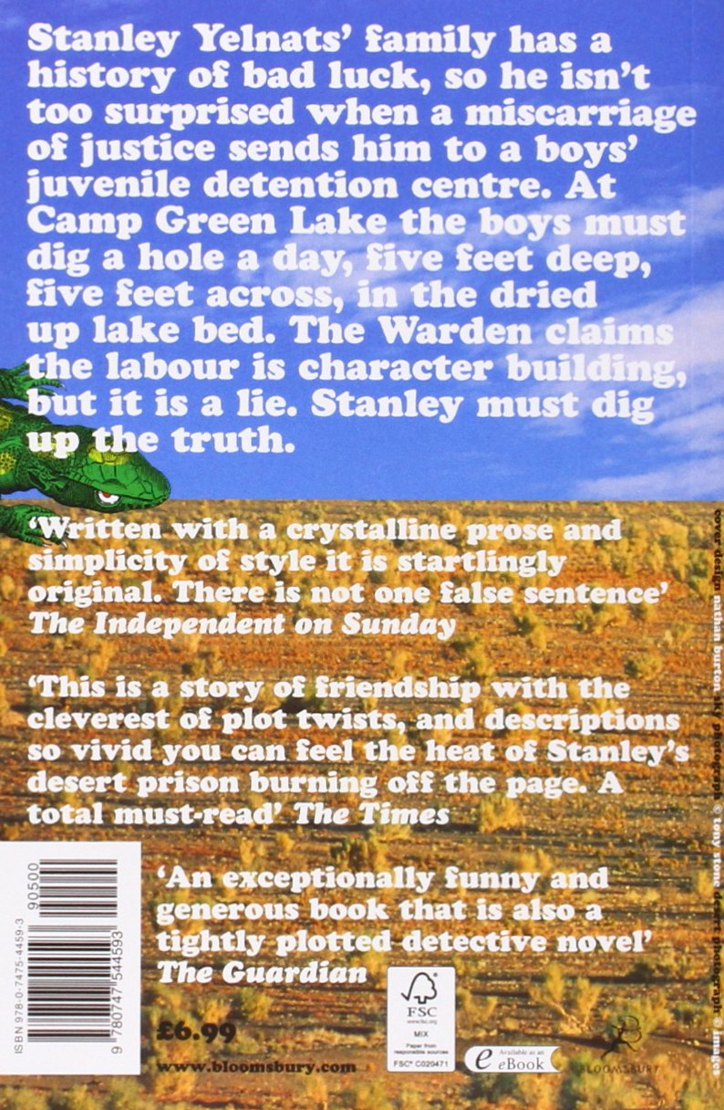 short book report on holes Holes study guide questions part one--you are entering camp green lake chapters one & two 1 explain the irony in the name camp green lake 2 why will campers sometimes permit themselves to be bitten by a rattlesnake or a scorpion.