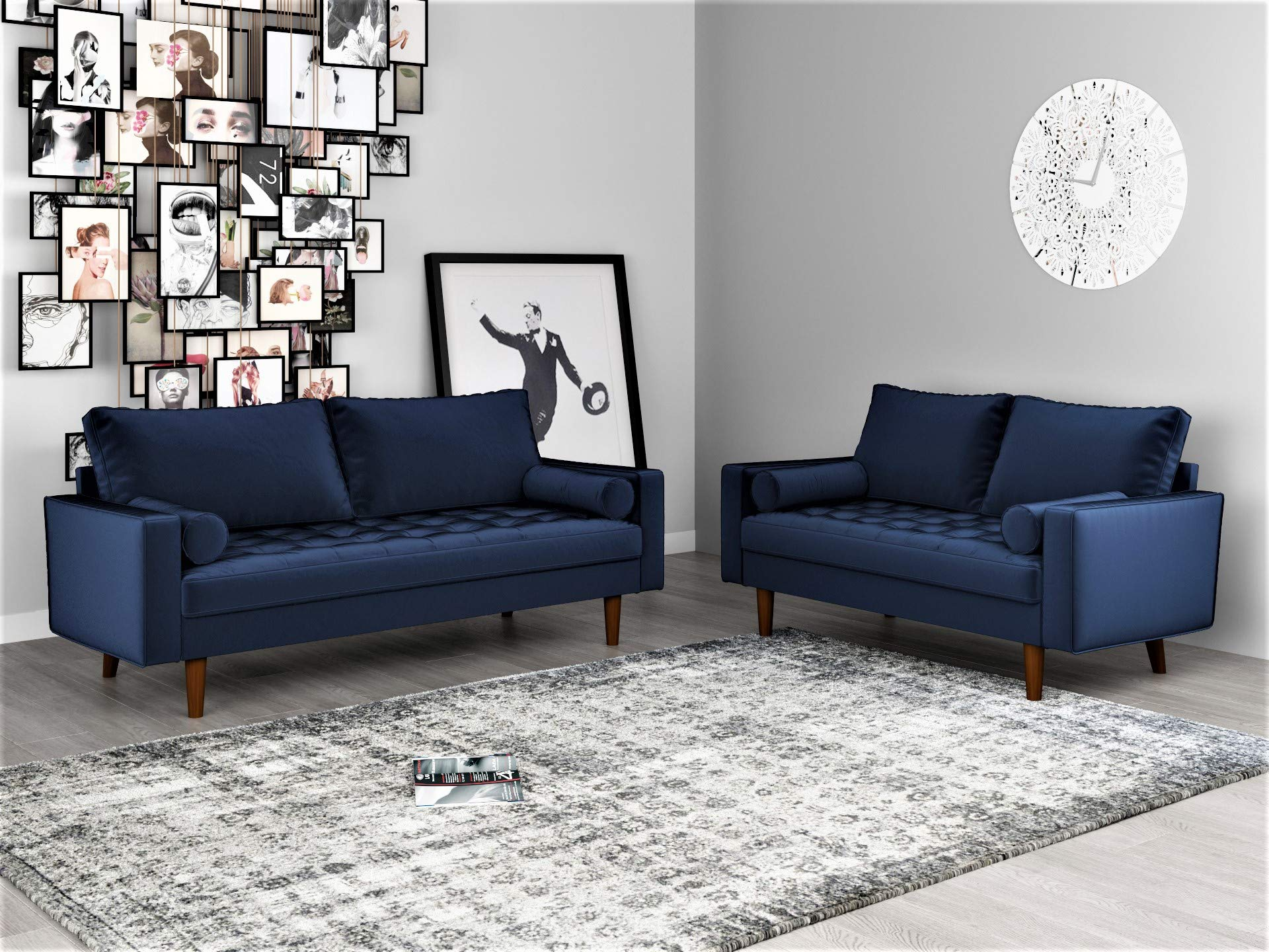 Container Furniture Direct Mid Century Modern Velvet Upholstered Button Tufted Living Room Sofa, 2 Piece Set, Space Blue by Container Furniture Direct