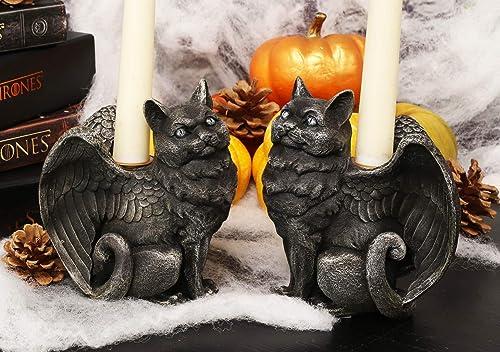 Ebros Gothic Angel Winged Catgoyle Cat Gargoyle Candle Holder Statue Medieval Renaissance Notre Dame Fantasy Gargoyles Angelic Feline Cats Sculpture Halloween Home Decor Left and Right Facing Pair