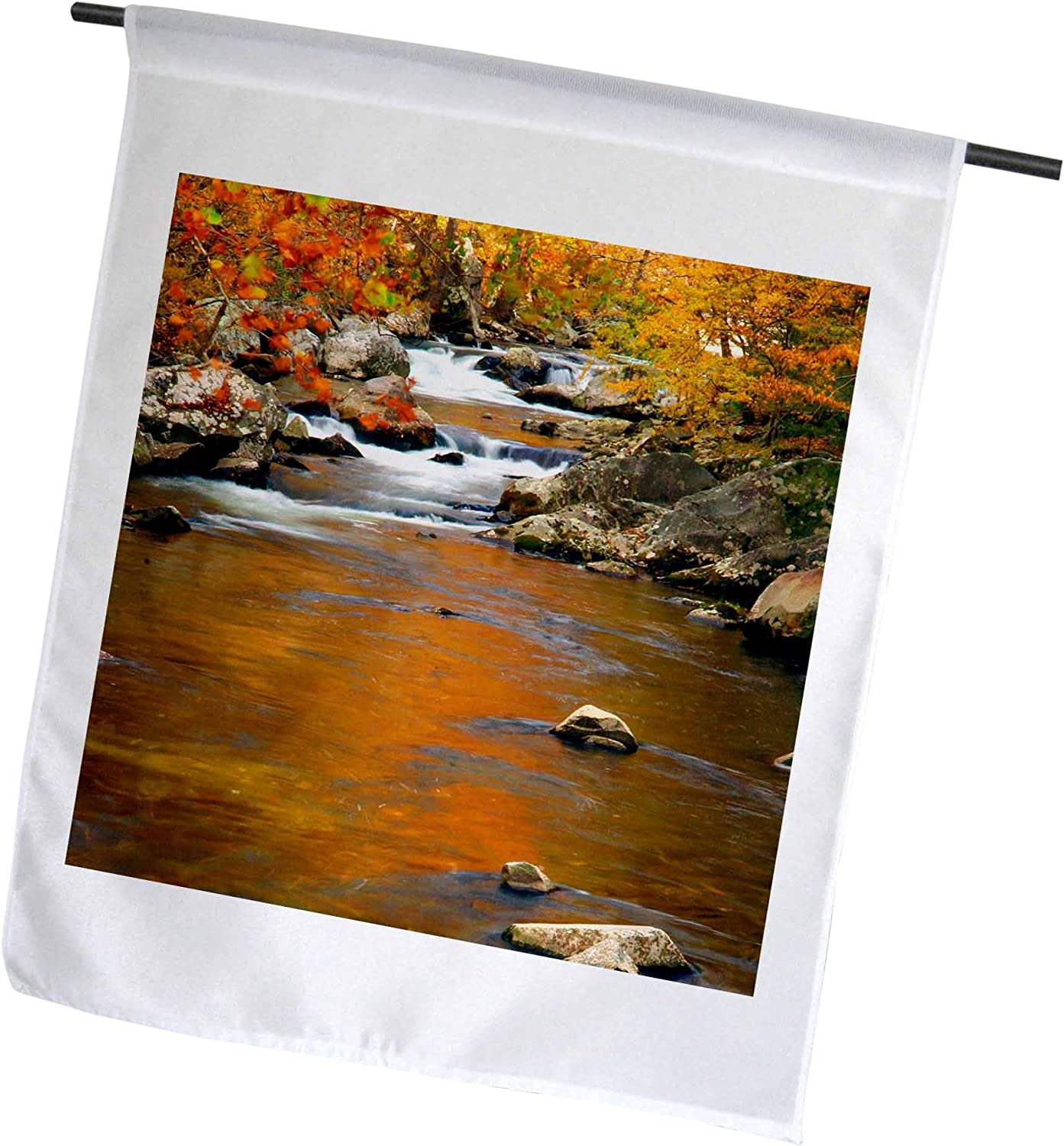3dRose USA, Tennessee. Creek with Bright Fall Colors. Smoky Mountains. - Garden Flag, 12 by 18