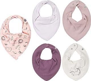 Pippi Halstuch 4er Pack Halstücher Baby Dreieckstücher + GRATIS 1 Minymo Halstuch ❤️ zusammen 5 Stück (4er Einhorn + violett)