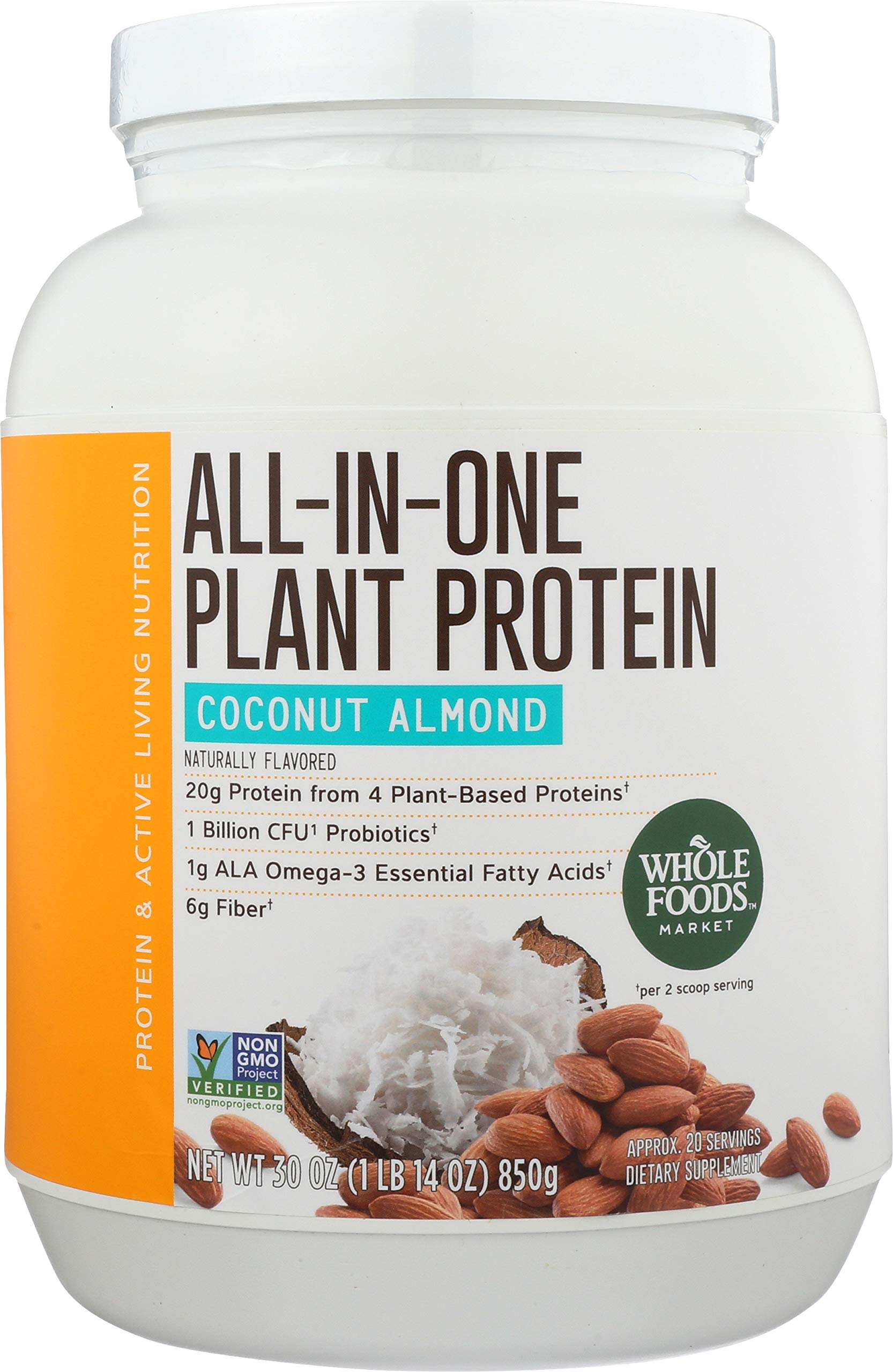 Whole Foods Market, All-In-One Plant Protein, Coconut Almond, 30 oz