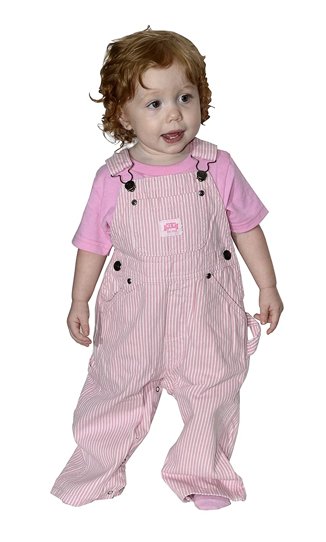 Key Apparel Lakin McKey Baby Girls Pink Hickory Striped Bib Overalls