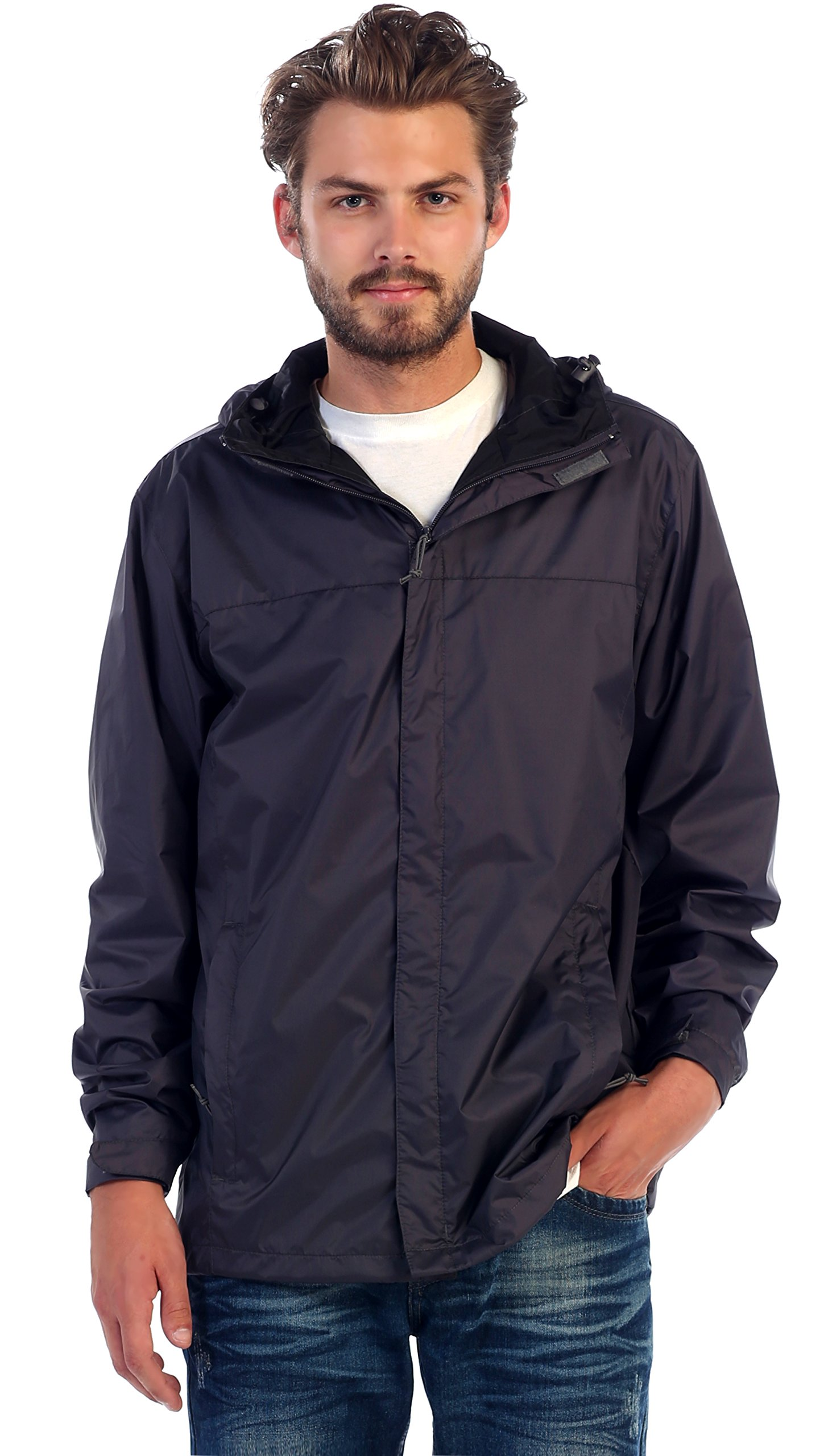 Gioberti Men's Waterproof Rain Jacket, Charcoal, XL