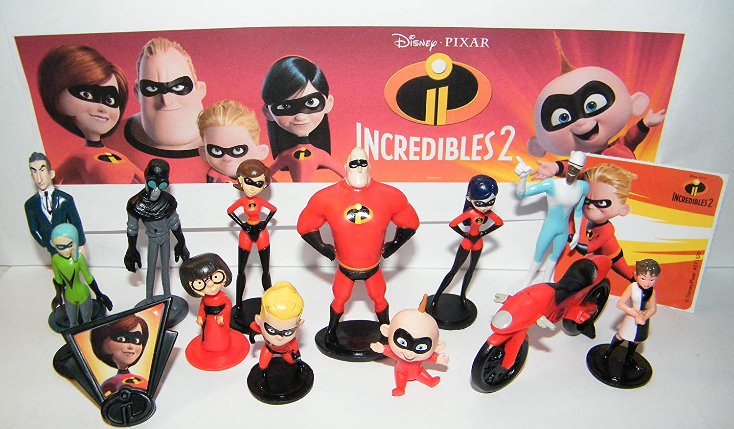 Amazon Com Playful Toys Incredibles 2 Movie Figure Set Of 15 Toy Kit With 12 Original And All New Characters Like Voyd Screenslaver The Elasti Cycle 2 Stickers And Specialring Toys Games