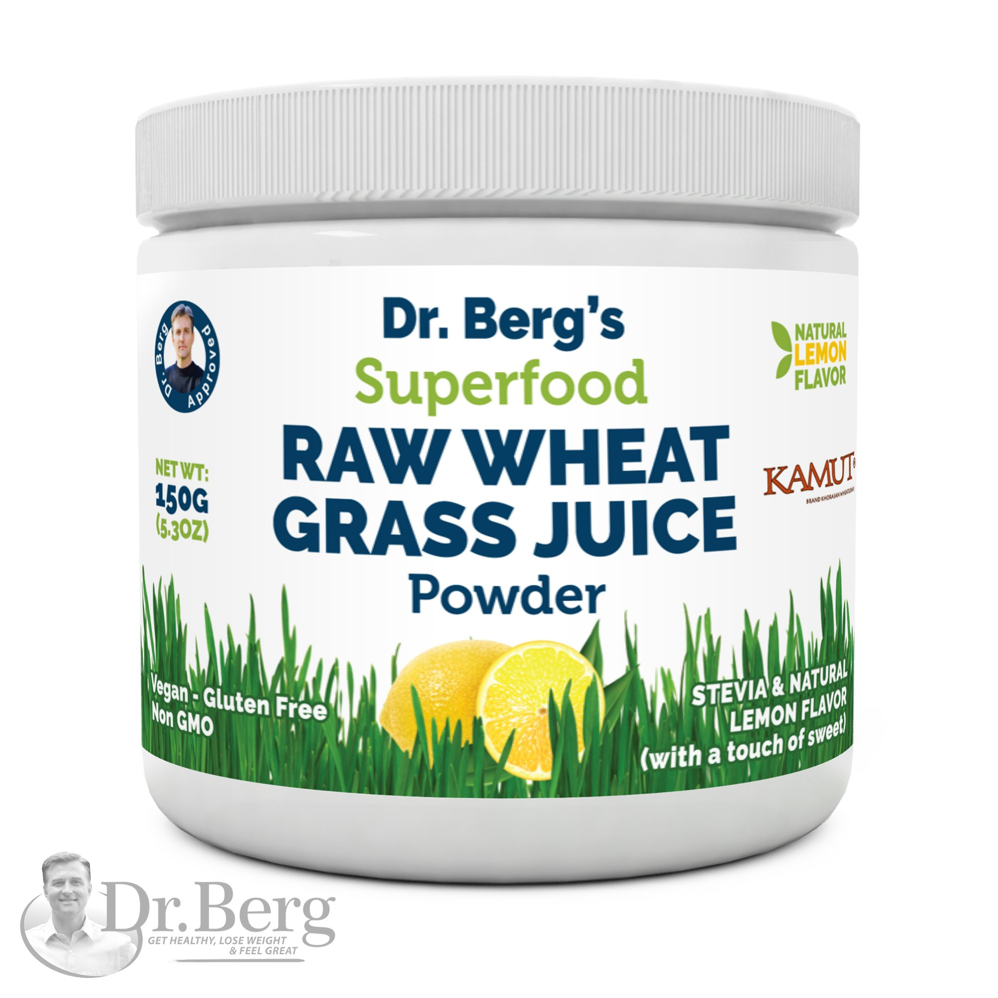 Dr. Berg's Natural Lemon Flavored Wheat Grass Powder with KamutTM -Raw & Ultra-Concentrated Nutrients -Rich in Vitamins, Chlorophyll & Trace Minerals (1 Pack)