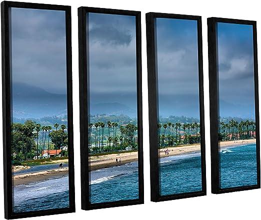 24 X 32 Artwall 4 Piece Steve Ainsworths The Beach At Santa Barbara Floater Framed Canvas Set Wall Art Posters Prints