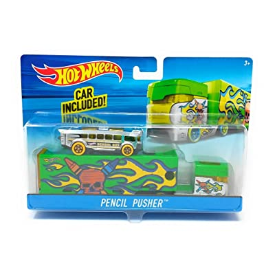 Hot Wheels GREEN PENCIL PUSHER Big Rig Semi Truck & Trailer w/ Detachable Cab & School Bus: Toys & Games