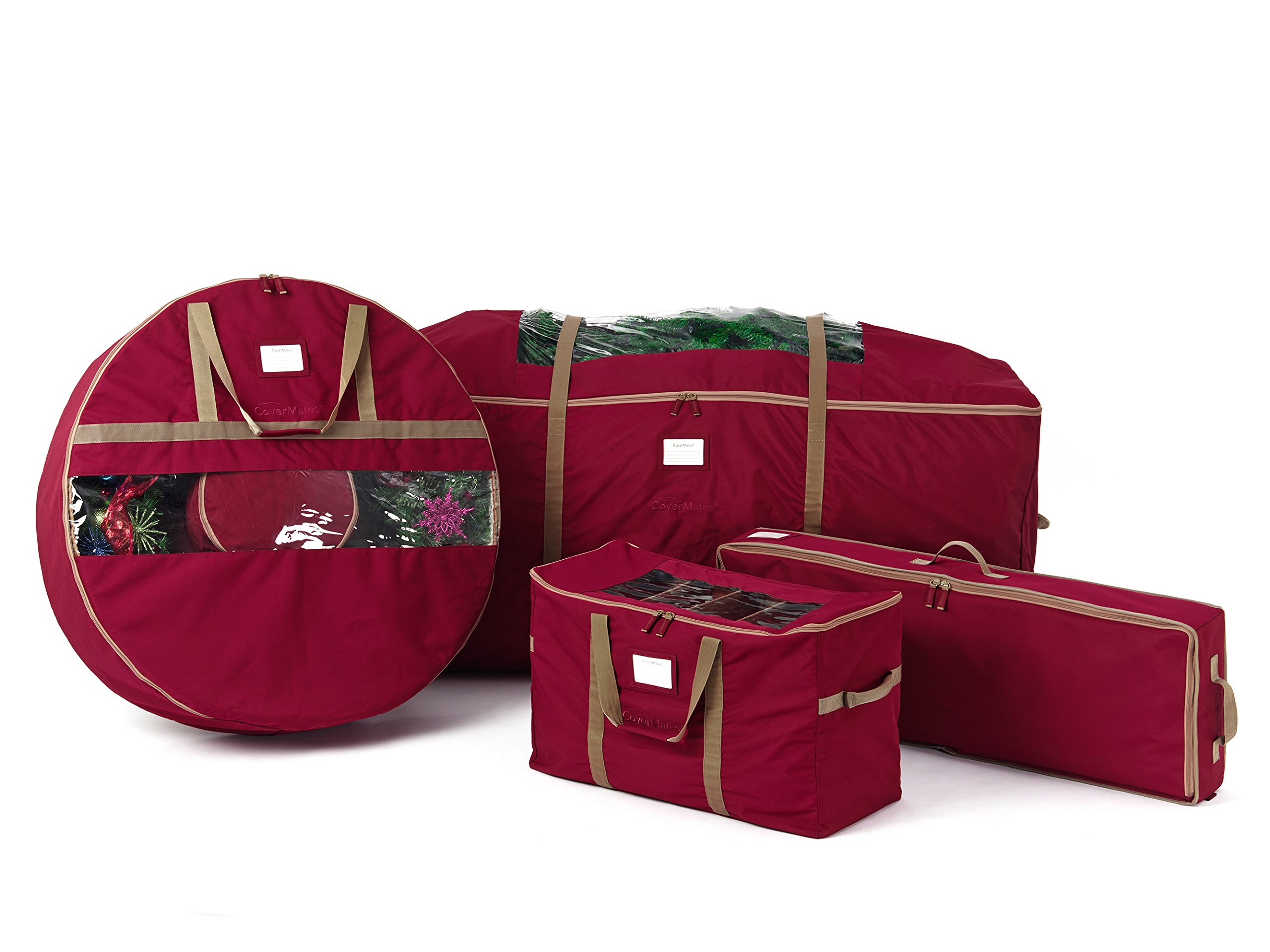 CoverMates – 4PC Holiday Storage Set (60'' Tree Bag + 36'' Wreath Bag + Gift Wrap + 108PC Ornament Bag) – 3 Year Warranty- Red